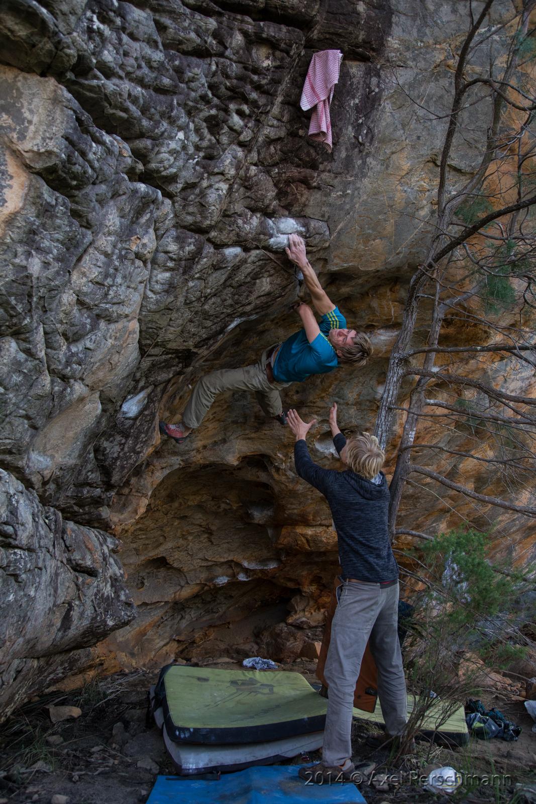 "Jochen making the second ascent of ""Simplycity"", V12"