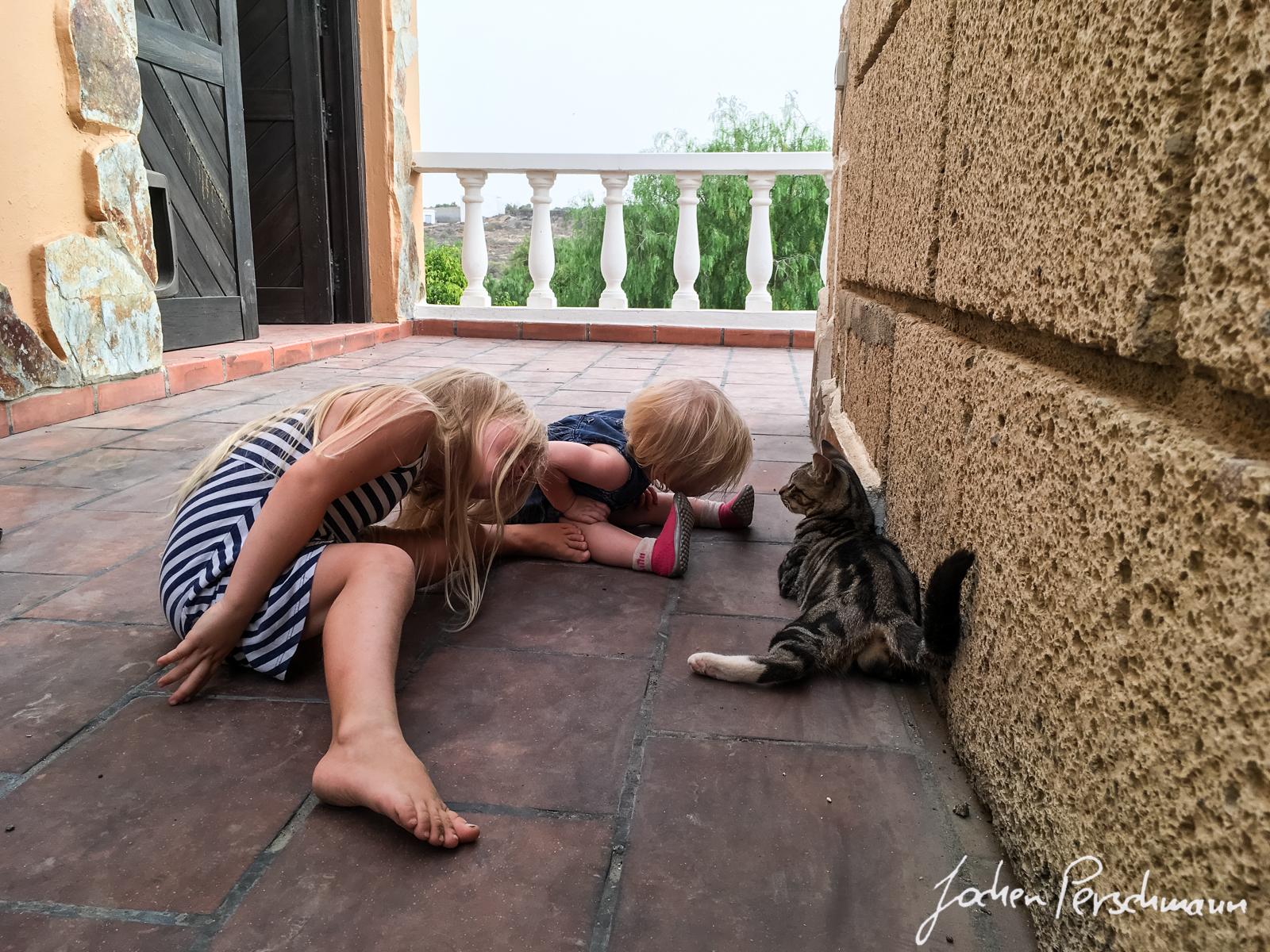 """Die Kids in unserer Unterkunft """"Spirit Lodge"""" bei Arico"""