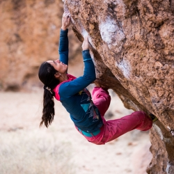 "Miriam Perschmann sending ""Serengeti, V5"" Happy Boulders"